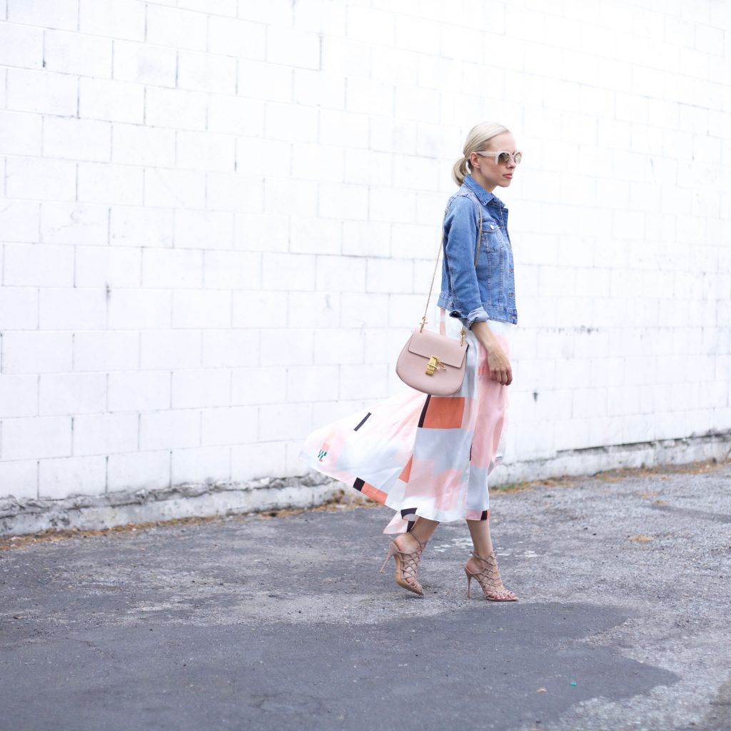 denim jacket, silk blush dress