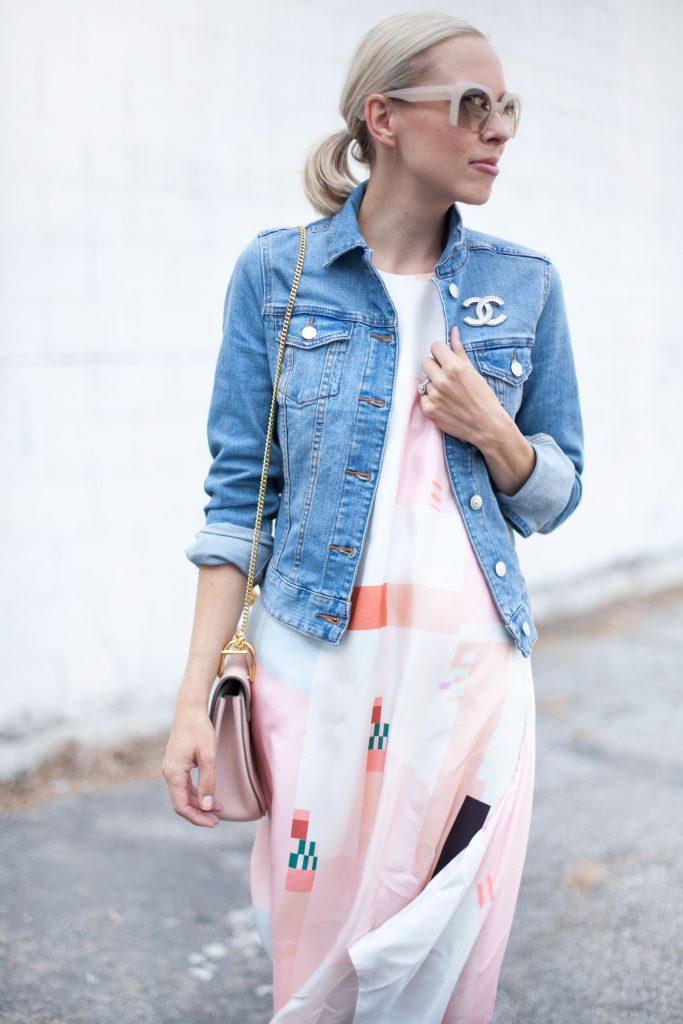chanel pin with denim jacket