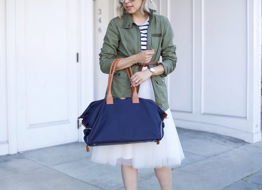 Jemma Bag featured by top US fashion blog, Lombard and Fifth: image of a blonde woman with a Birdie Jemma bag, a Madewell military jacket, and a J Crew striped top