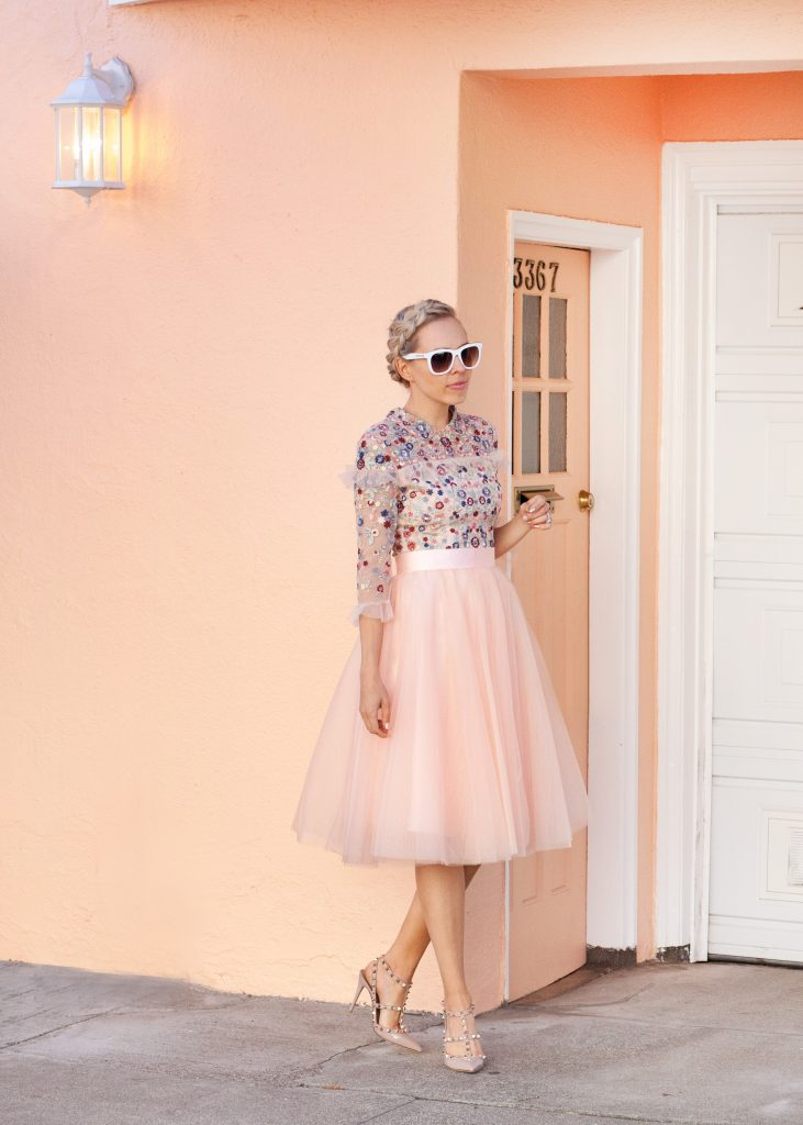 Embroidered dress paired with blush tulle skirt