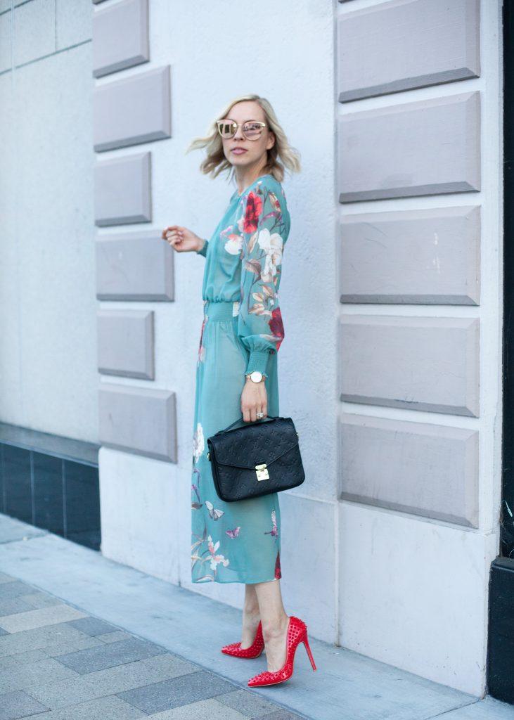 sage floral print dress