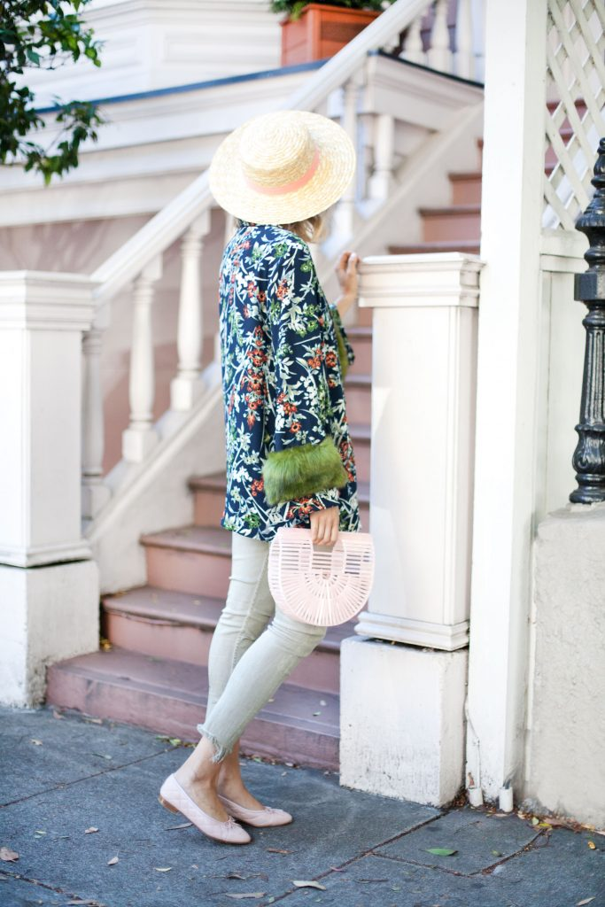 floral faux fur kimono zara | Top US fashion blog, Lombard and Fifth feature the image of a woman wearing a stunning Zara floral kimono with faux fur, Zara skinny jeans, ASOS straw boater hat, pink Gaia bag and pink Chanel flats