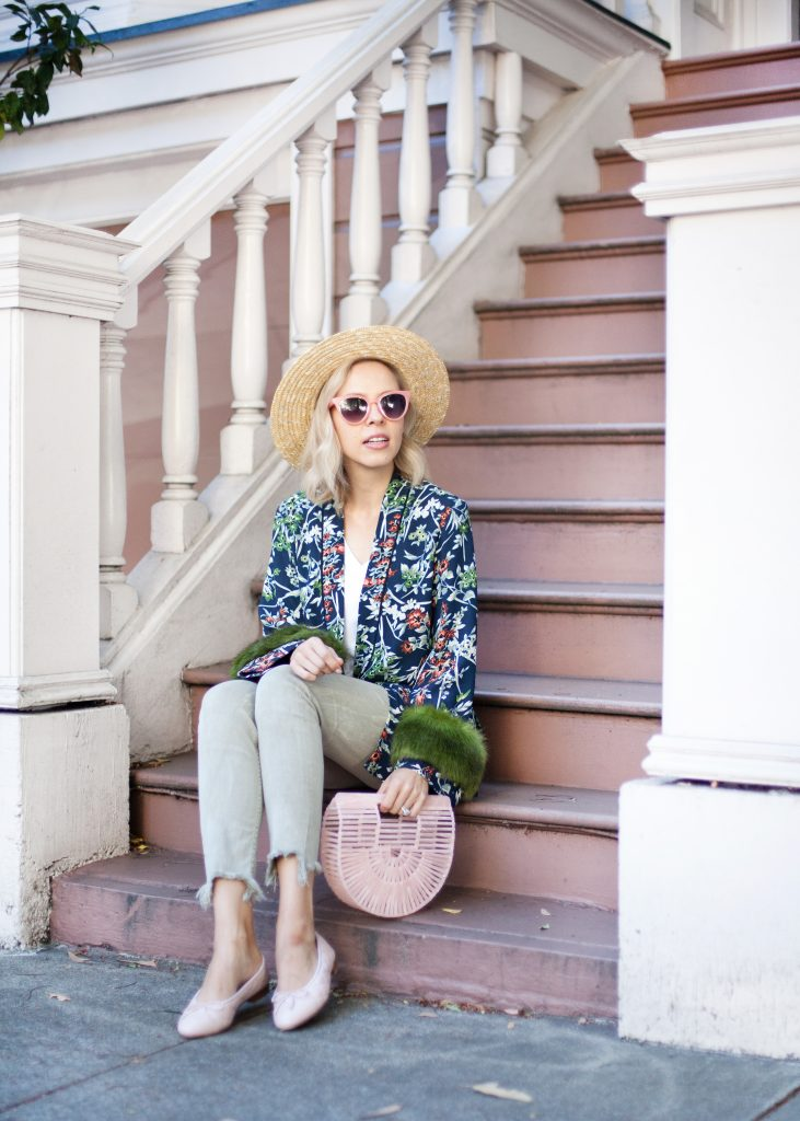 floral faux fur kimono zara | fTop US fashion blog, Lombard and Fifth feature the image of a woman wearing a stunning Zara floral kimono with faux fur, Zara skinny jeans, ASOS straw boater hat, pink Gaia bag and pink Chanel flats