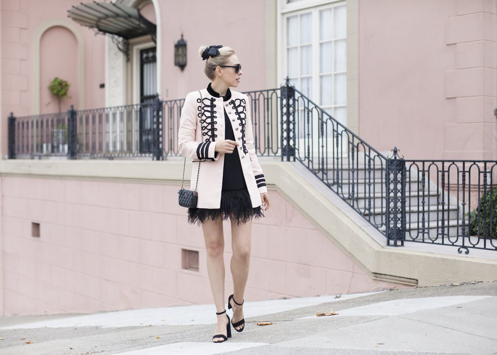 blush military jacket zara | Top San Francisco fashion blog features a pink Zara military jacket: image of a woman wearing Zara military jacket, Kate Spade black mini dress, Manola heels, Chanel black flap bag