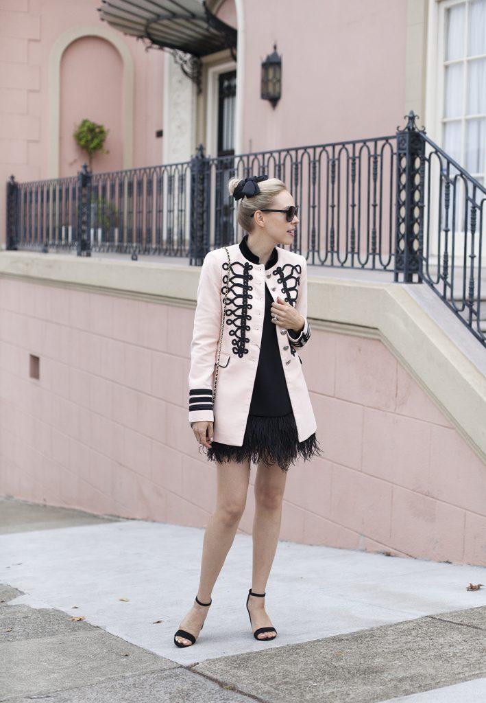 blush military jacket zara | Top San Francisco fashion blog features a pink Zara military jacket: image of a woman wearing Zara military jacket, Kate Spade black mini dress, Manola heels, Chanel black flap bag