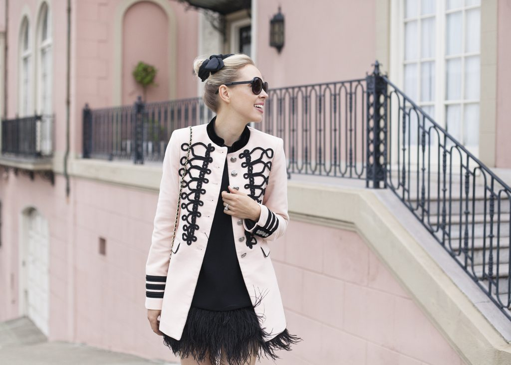 | Top San Francisco fashion blog features a pink Zara military jacket: image of a woman wearing Zara military jacket, Kate Spade black mini dress, Manola heels, Chanel black flap bag