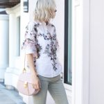 zara embroidered top, olive pants, chloe drew bag