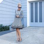 Stripe Knit Fit & Flare Dress Eliza J