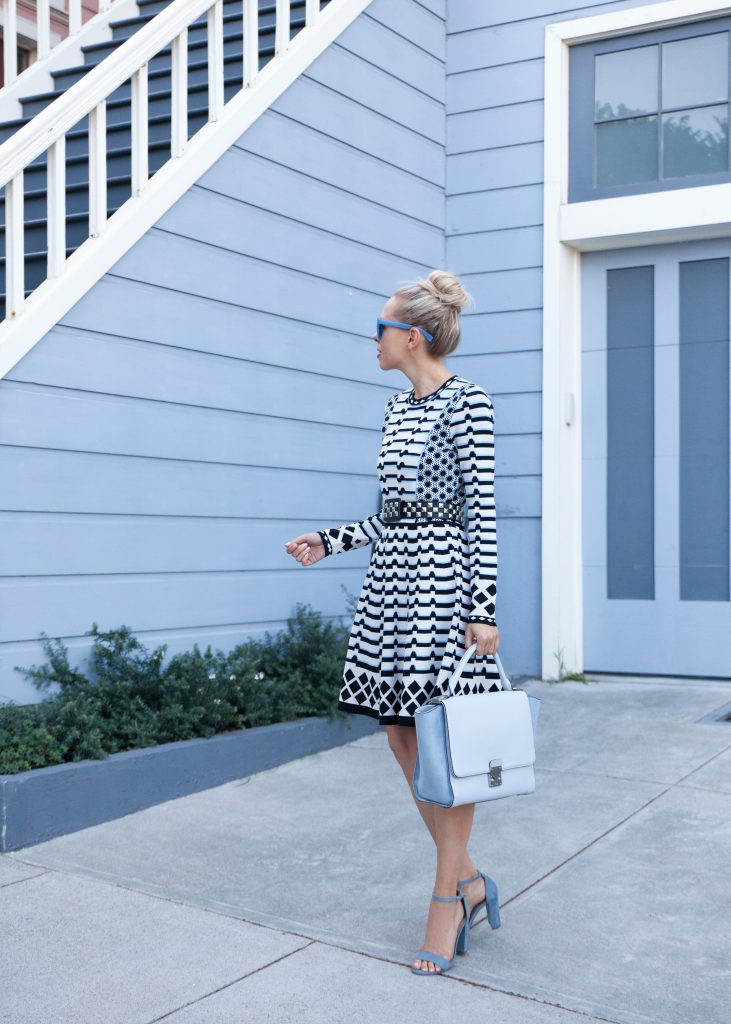 Stripe Knit Fit & Flare Dress Eliza J | The Perfect Eliza J Dress for Fall featured by top San Francisco fashion blog, Lombard and Fifth: image of a blonde woman wearing Jcrew sunglasses, Eliza J dress and blue suede heels