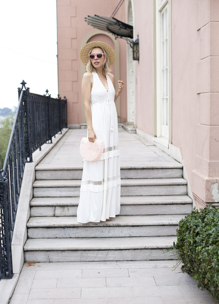crochet white maxi dress Hale Bob