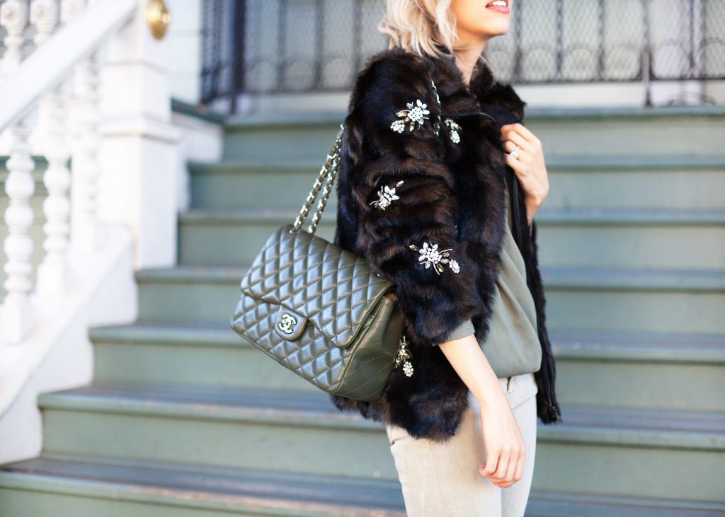 olive chanel jumbo flap bag zara faux fur jacket
