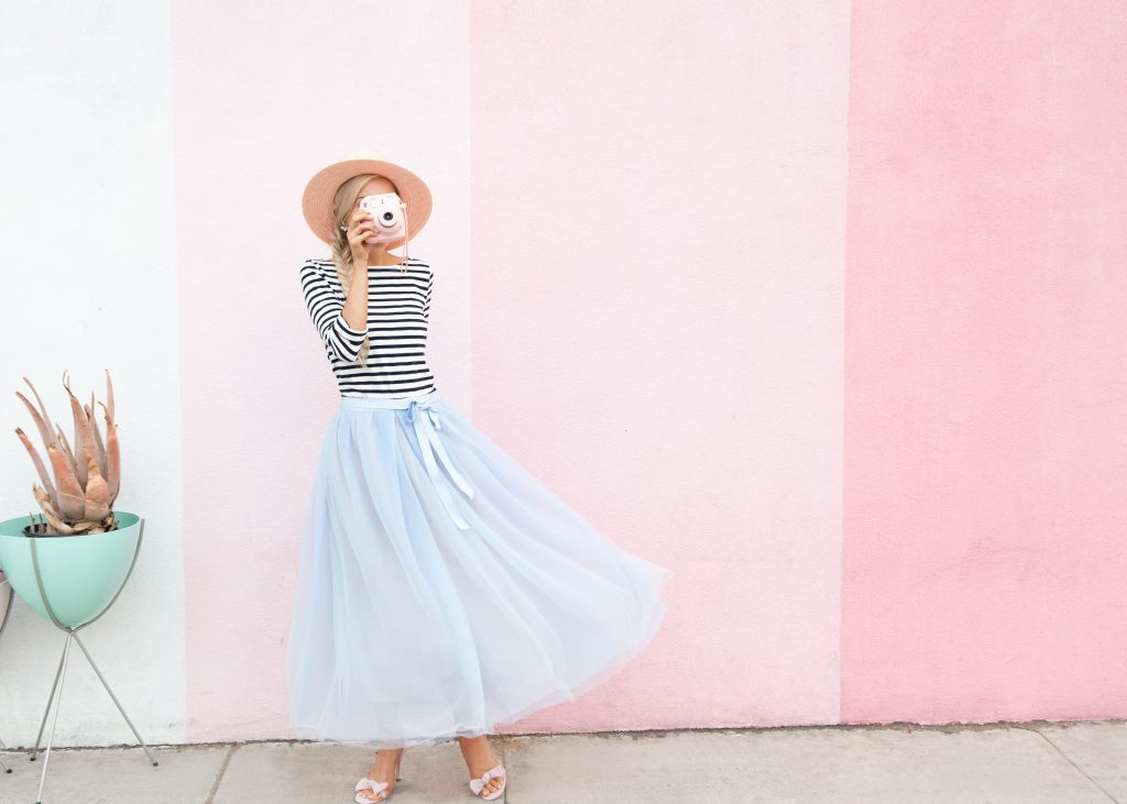 j crew tulle skirt striped shirt pigment san diego wall