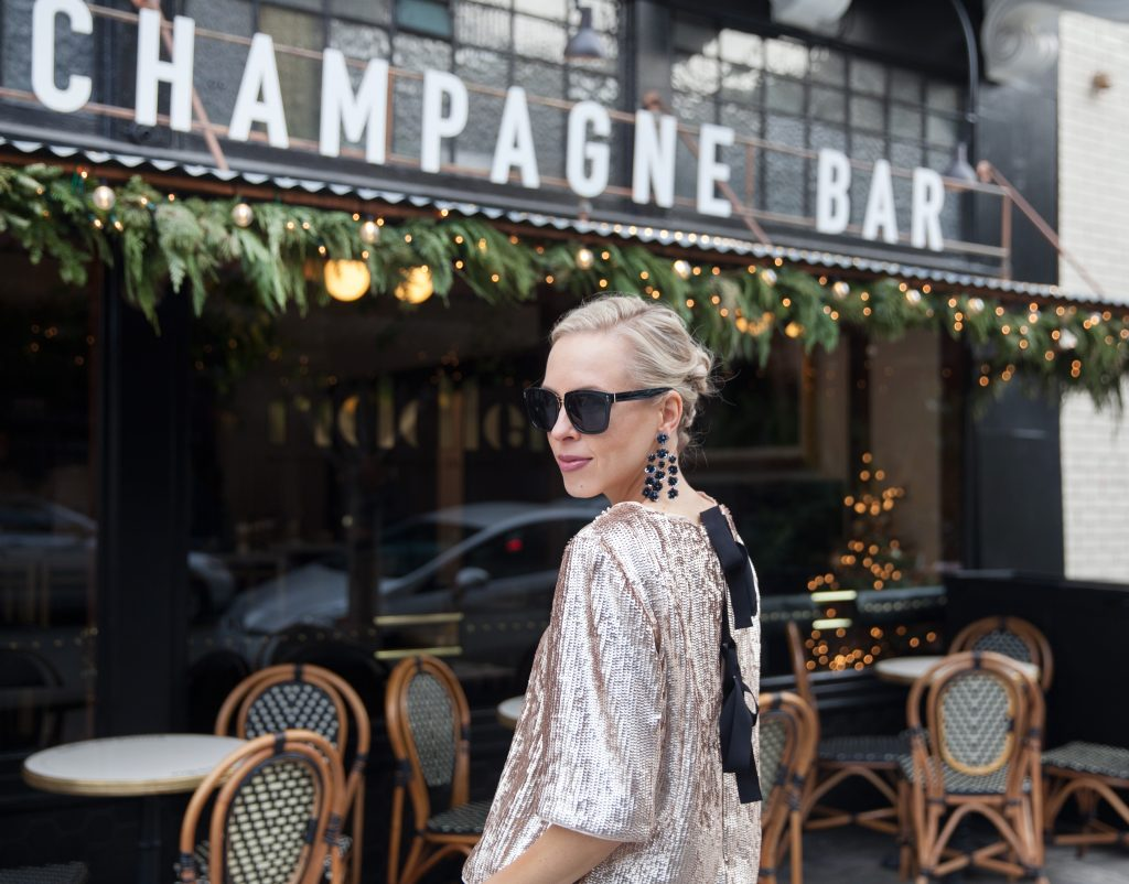 J Crew rose gold sequin top New Year's Eve style inspo, The Riddler San Francisco | J Crew sequin top perfect for your New Year's Eve look and styled by top US fashion blog, Lombard and Fifth.