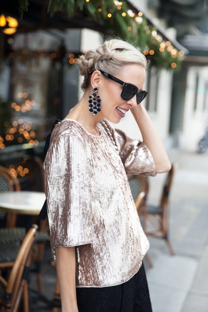 J Crew rose gold sequin top New Year's Eve style inspo