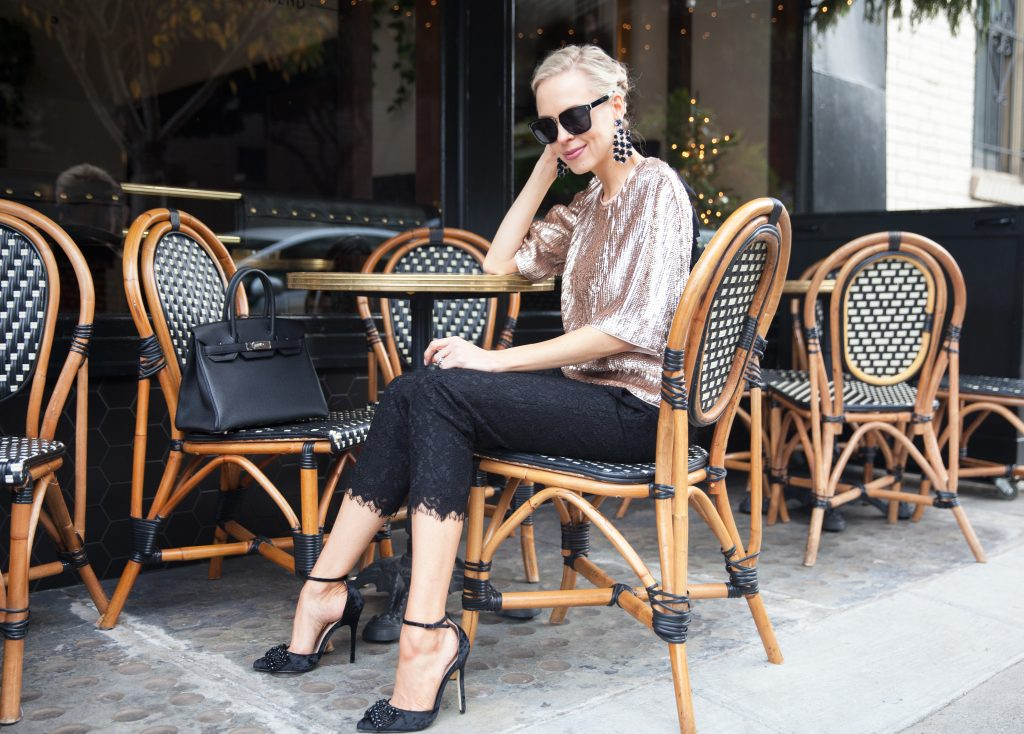 J Crew rose gold sequin top New Year's Eve style inspo, The Riddler San Francisco