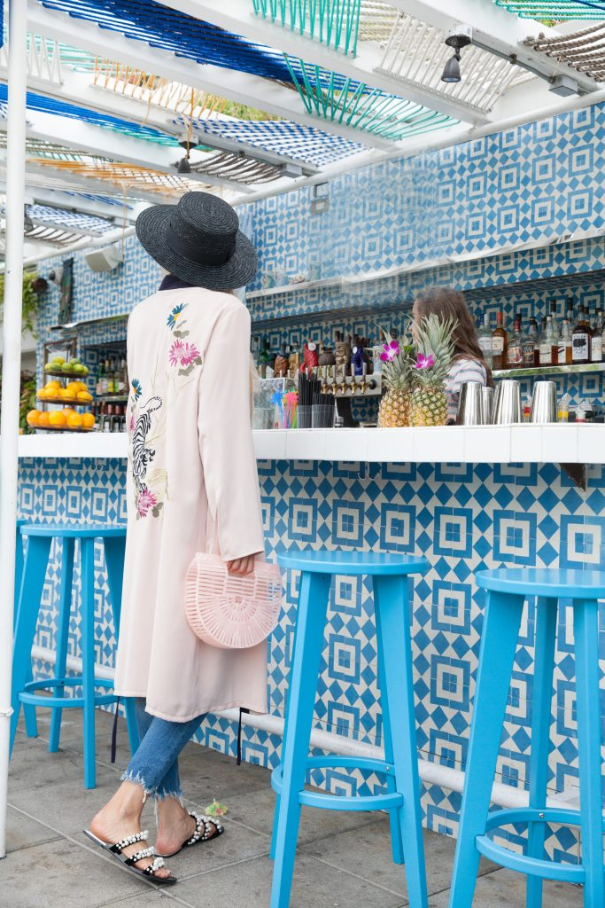 Veronica of Lombard & Fifth blog wears a Topshop embroidered kimono and talks about the kimono trend in this post