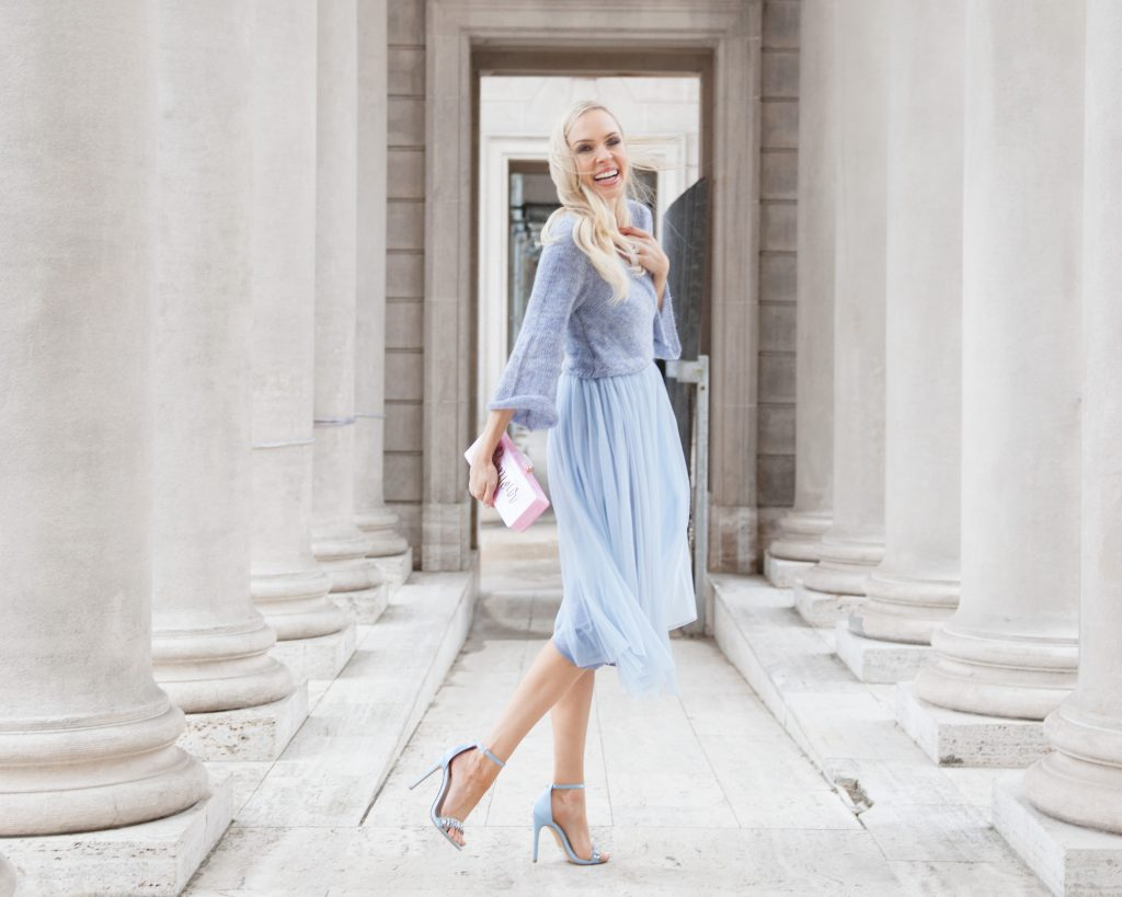 Layered Arabesque Dress Anthropologie, Miss Selfridge Tailored Ja | Shades of Pastel featured by top San Francisco fashion blog, Lombard and Fifth: image of a blonde woman wearing a blue Anthropologie dress, ASOS Pink coat, ASOS silver sandals.cket ASOS, New Look Embellished Barely There Heeled Sandal