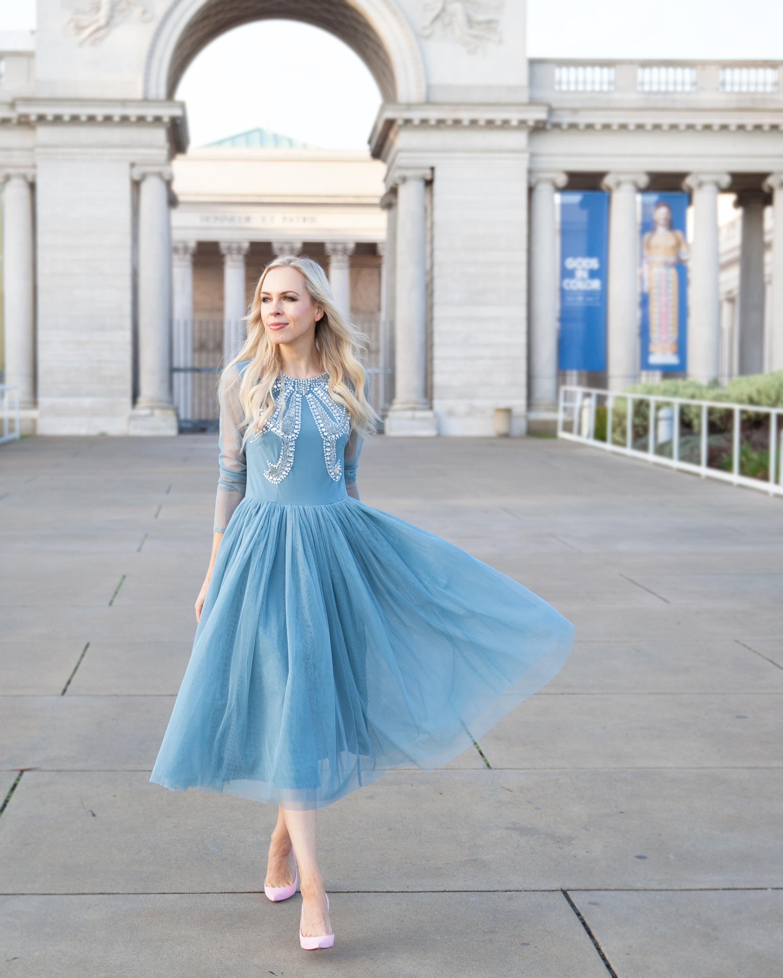 Asos Embellished Bow Dress Dusty Blue Tulle Midi Length