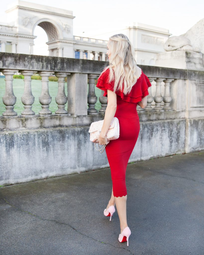 Eliza J body con dress red_Valentine's Day style | Red Eliza J Dress styled for Valentine's Day by top US fashion blog, Lombard and Fifth: image of a blonde woman wearing an Eliza Dress of the shoulder dress, Simply faux fur jacket, Rue La La glitter bag and Christian Louboutin shoes
