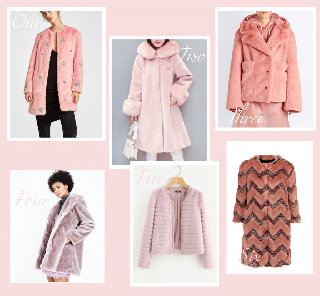 faux fur coat round up blush pink