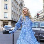Damaris Bailey blue dress exploring Paris