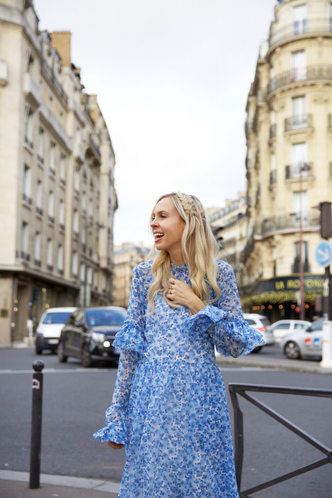Damaris Bailey blue dress exploring Paris