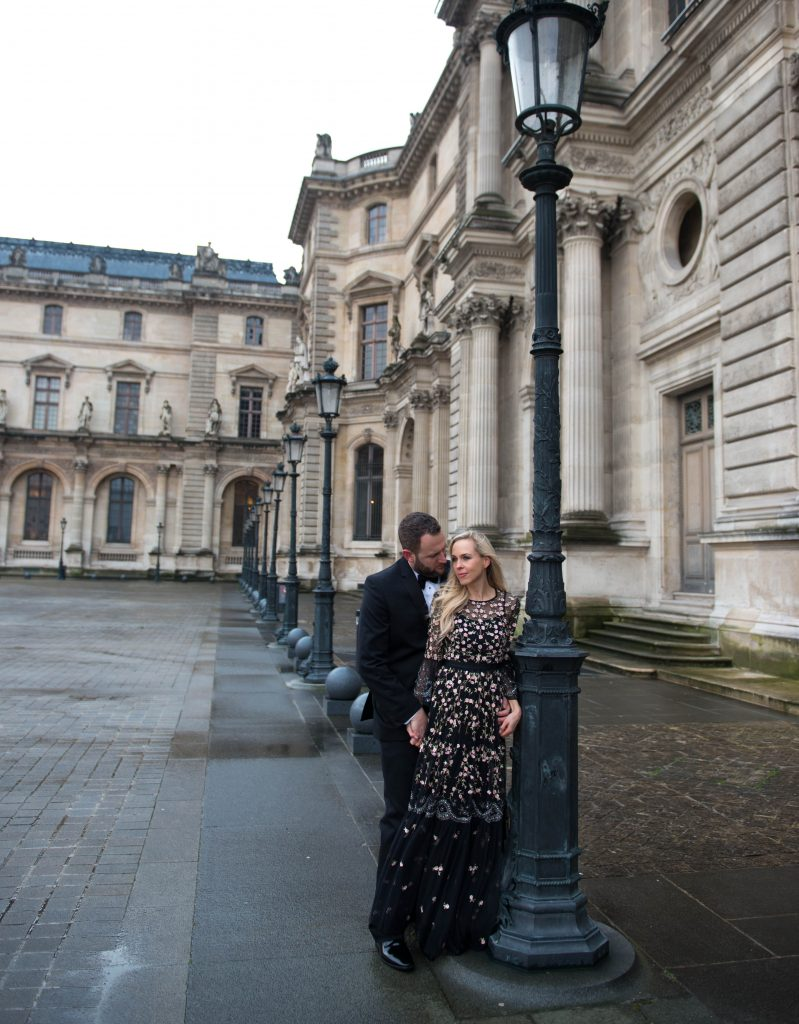 Needle & Thread Climbing Blossom Dress, at The Louvre Paris, Valentine's Day, Vera Wang Tux