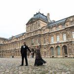 Needle & Thread Climbing Blossom Dress, at The Louvre Paris, Valentine's Day, Vera Wang Tux