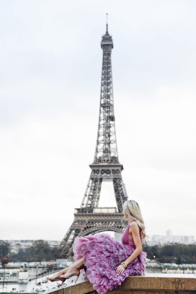 Julie Voss bracelets and earrings, violet marchesa notte gown at eiffel tower in Paris