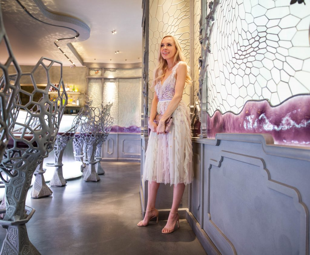 Needle & thread rainbow dress, brunch at Laduree Paris, pastel shades | Brunch at Laduree Paris featured by top San Francisco fashion blog, Lombard & Fifth: image of a blonde woman wearing Needle & Thread rainbow gown, Stuart Weitzman sandals and GAP pink faux fur coat
