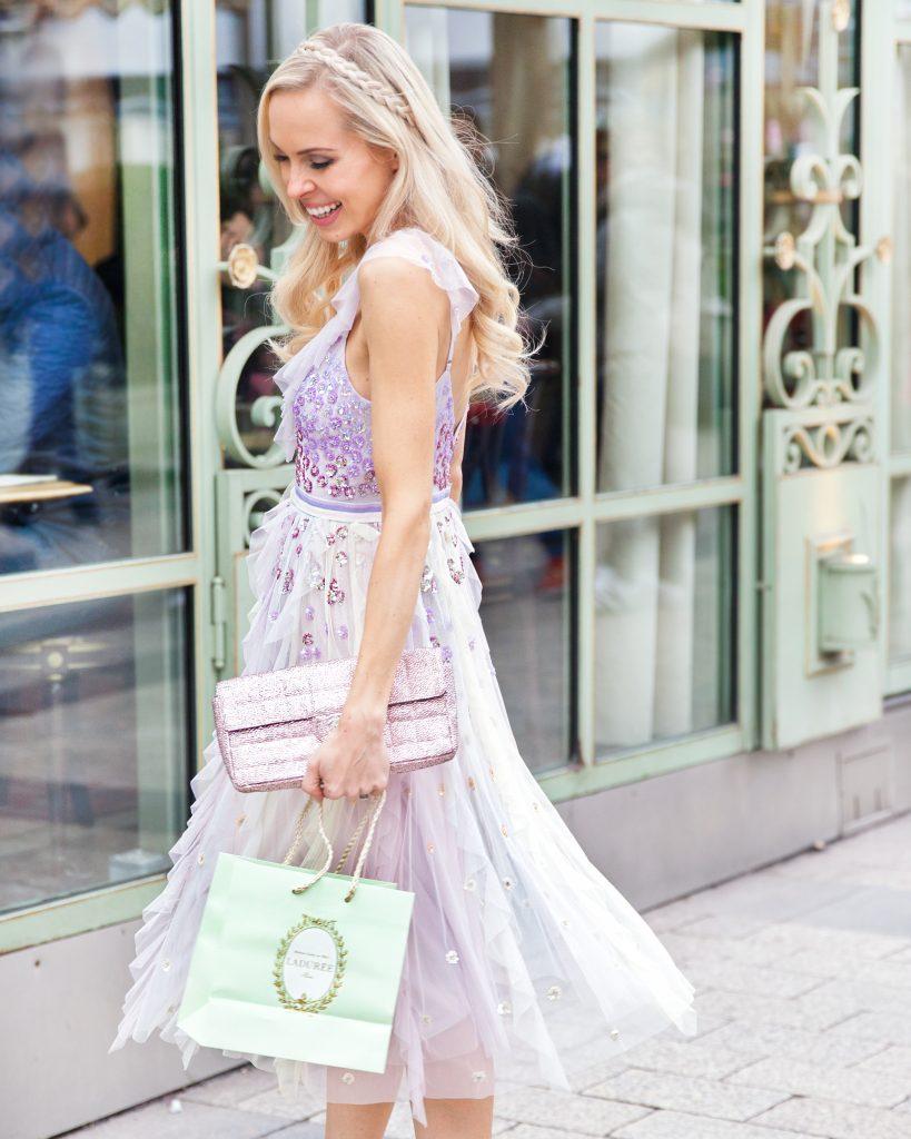 Needle & thread rainbow dress, brunch at Laduree Paris, pastel shades