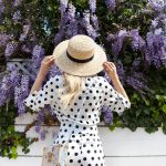 asos polka dot jumpsuit boater hat blooming wisteria
