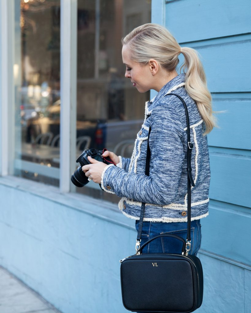 luxemono monogrammed camera bag Le Marais Bakery San Francisco