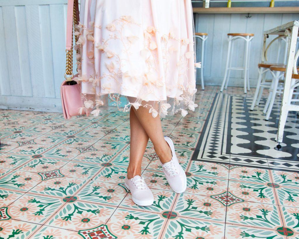 keds metallic shoe casual | Top San Francisco fashion blog, Lombard & Fifth, featuring a pair of pink metallic Keds