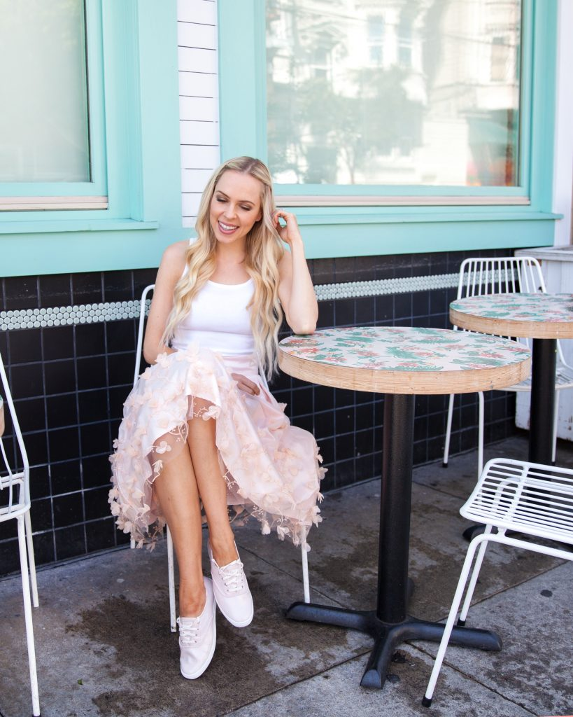   Top San Francisco fashion blog, Lombard & Fifth, featuring a pair of pink metallic Keds
