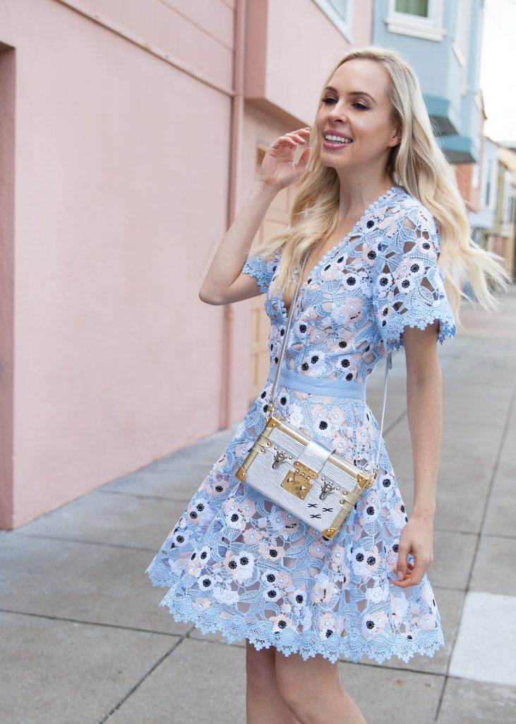 LA MAISON TALULAH dress_wedding guest dress guide  | Spring Wedding Guest Dresses featured by top San Francisco fashion blog, Lombard and Fifth: image of a blonde woman wearing a Nordstrom crochet dress, Stuart Weitzman sandals and Louis Vuitton petite malle