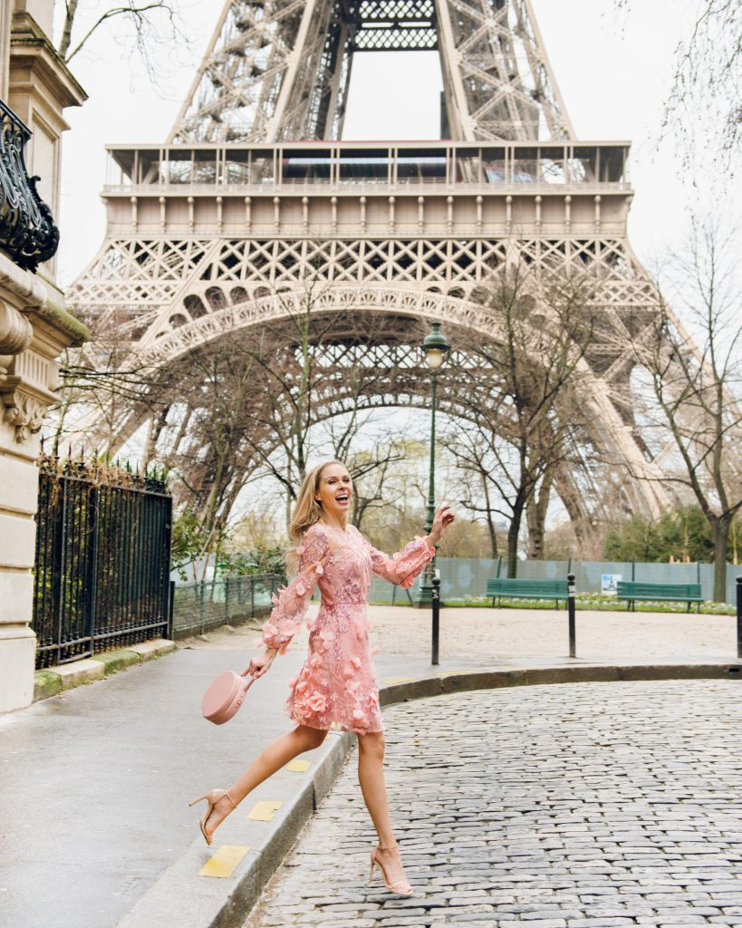 eiffel tower, paris in the spring time, marchesa dress