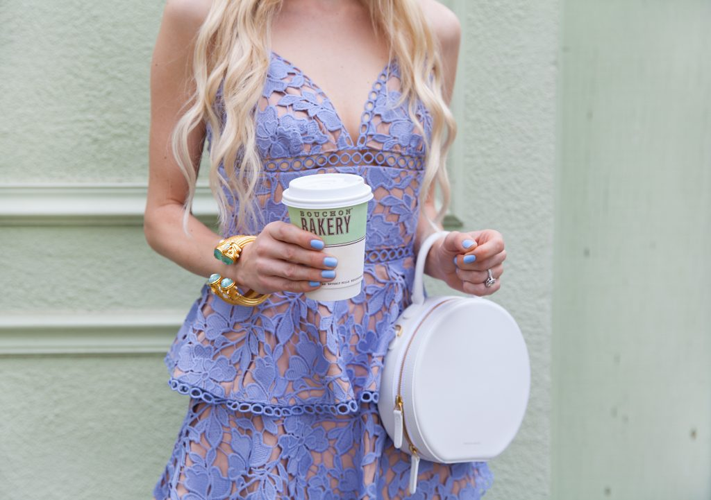 Sau Lee Camellia Lace Tiered Dress. Bouchon bakery in Yountville. Julie Voss cuff bracelet