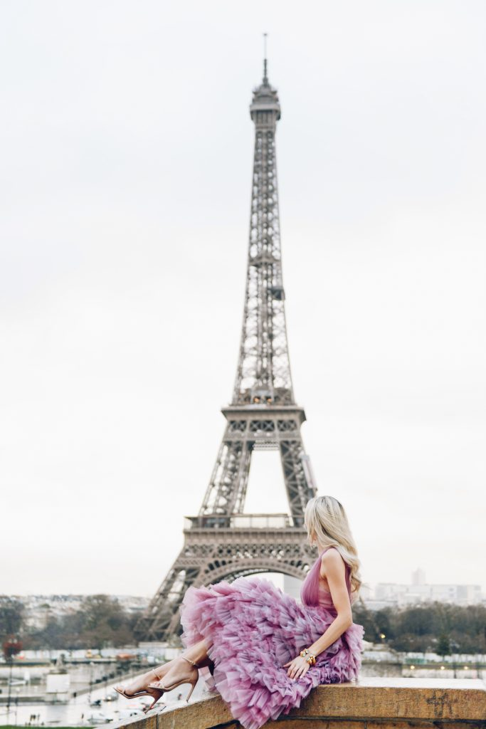 lombard & fifth eiffel tower paris, marchesa notte tulle gown, travel blogger