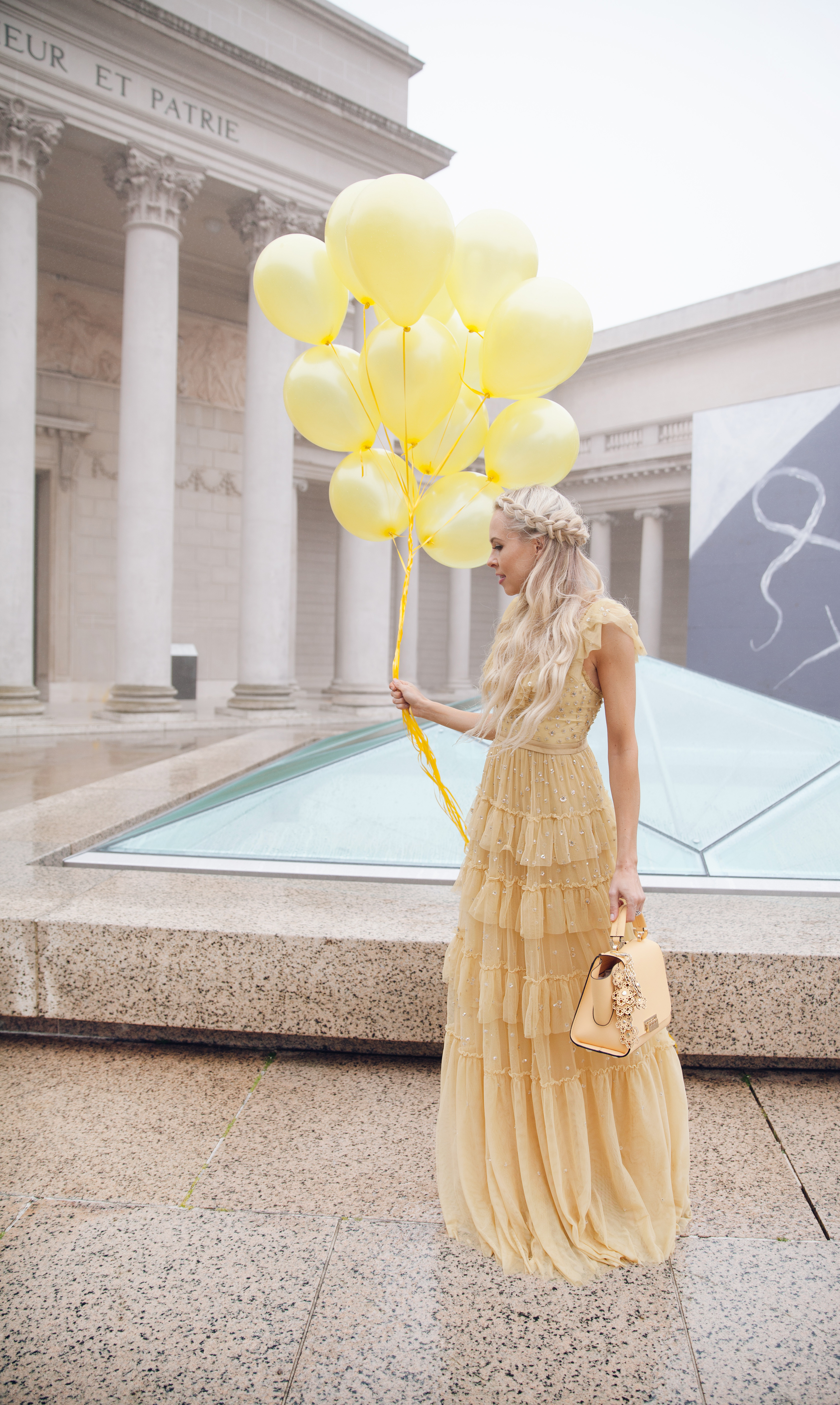how to eBay, my style journey, needle & thread dress maxi yellow embroidered | Top San Francisco fashion blog, Lombard and Fifth, features her tips on How to Ebay effectively: image of a blonde woman wearing a stunning maxi dress found on Ebay