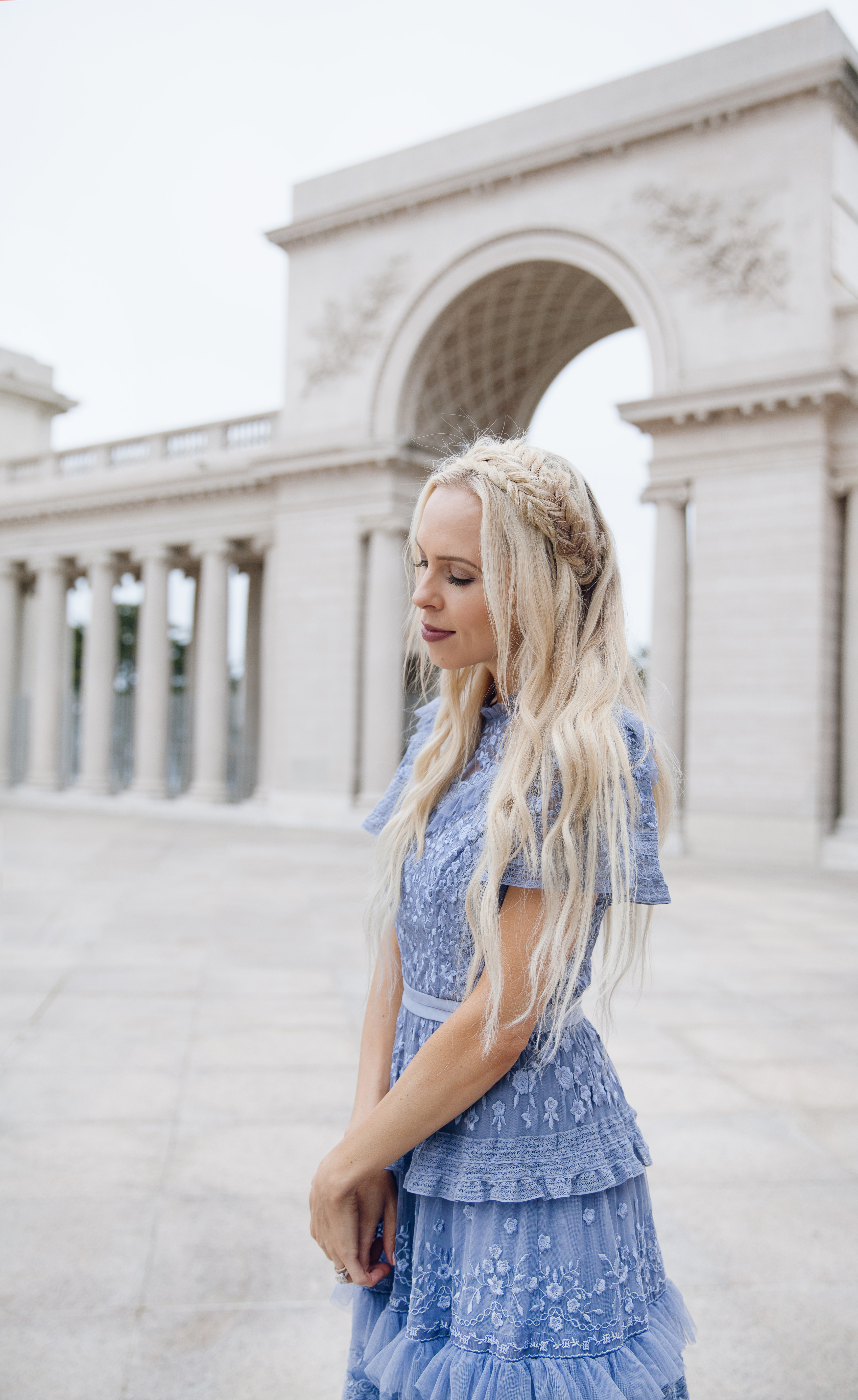 how to eBay, my style journey, needle & thread dress maxi pink embroidered| Top San Francisco fashion blog, Lombard and Fifth, features her tips on How to Ebay effectively: image of a blonde woman wearing a stunning maxi dress found on Ebay