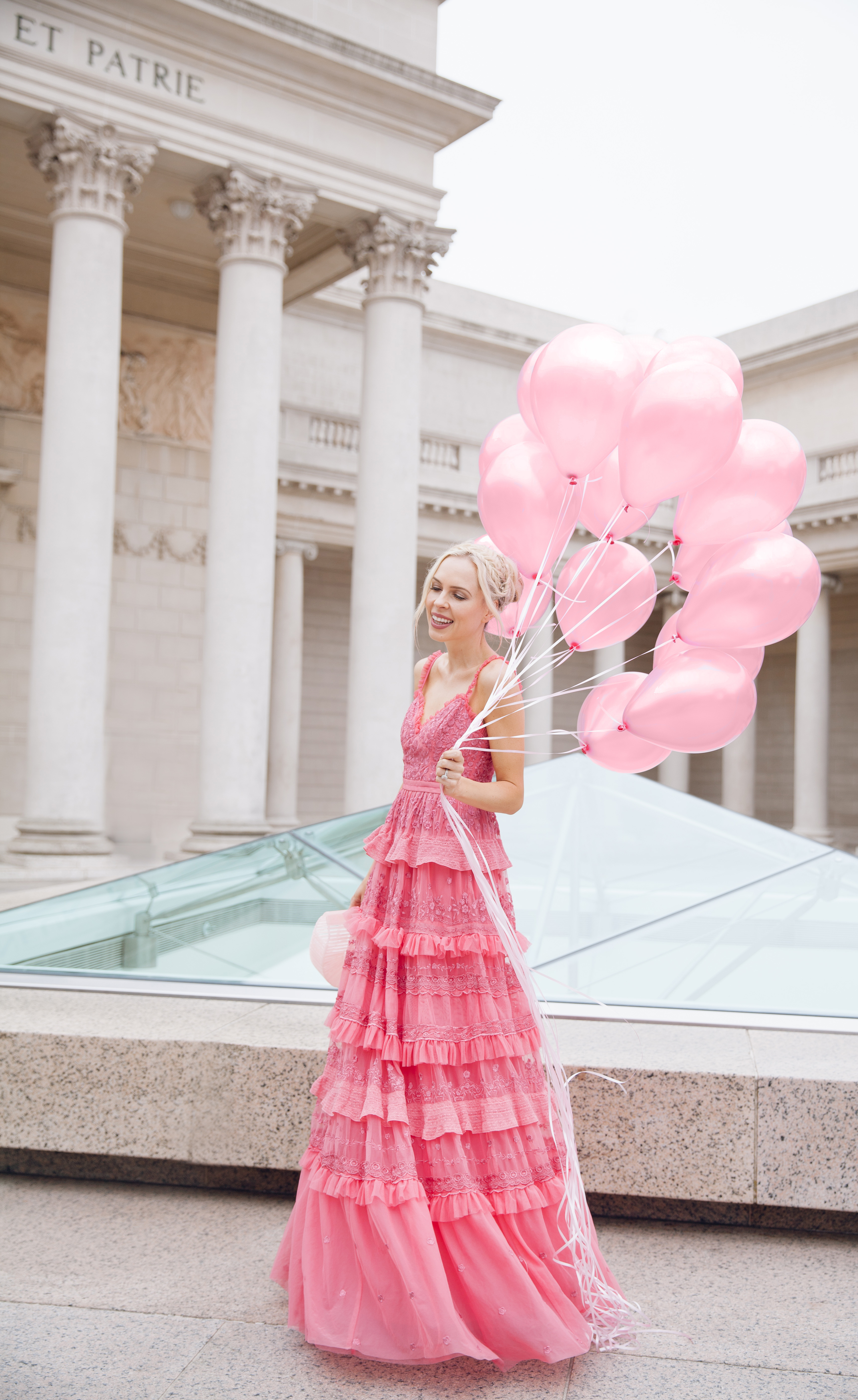 how to eBay, my style journey, needle & thread dress maxi pink embroidered | Top San Francisco fashion blog, Lombard and Fifth, features her tips on How to Ebay effectively: image of a blonde woman wearing a stunning maxi dress found on Ebay