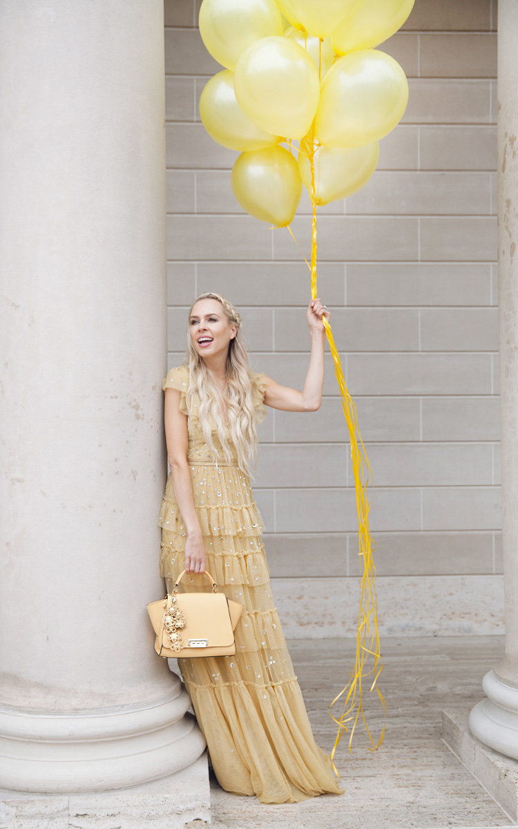 how to eBay and my fashion journey through time | Top San Francisco fashion blog, Lombard and Fifth, features her tips on How to Ebay effectively: image of a blonde woman wearing a stunning maxi dress found on Ebay