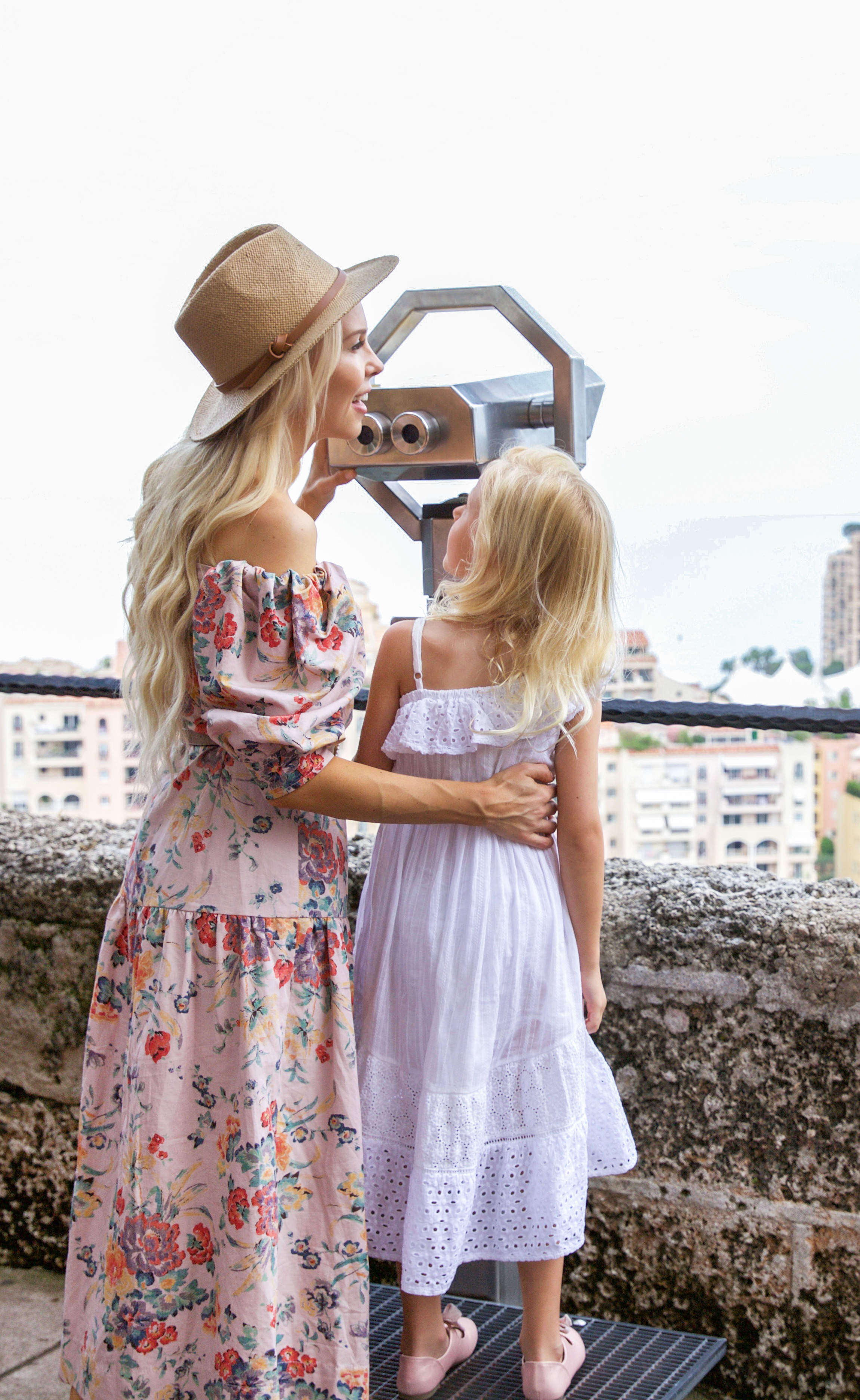 Rebecca Taylor Marlena Off the Shoulder Floral Midi Dress exploring Monaco this summer