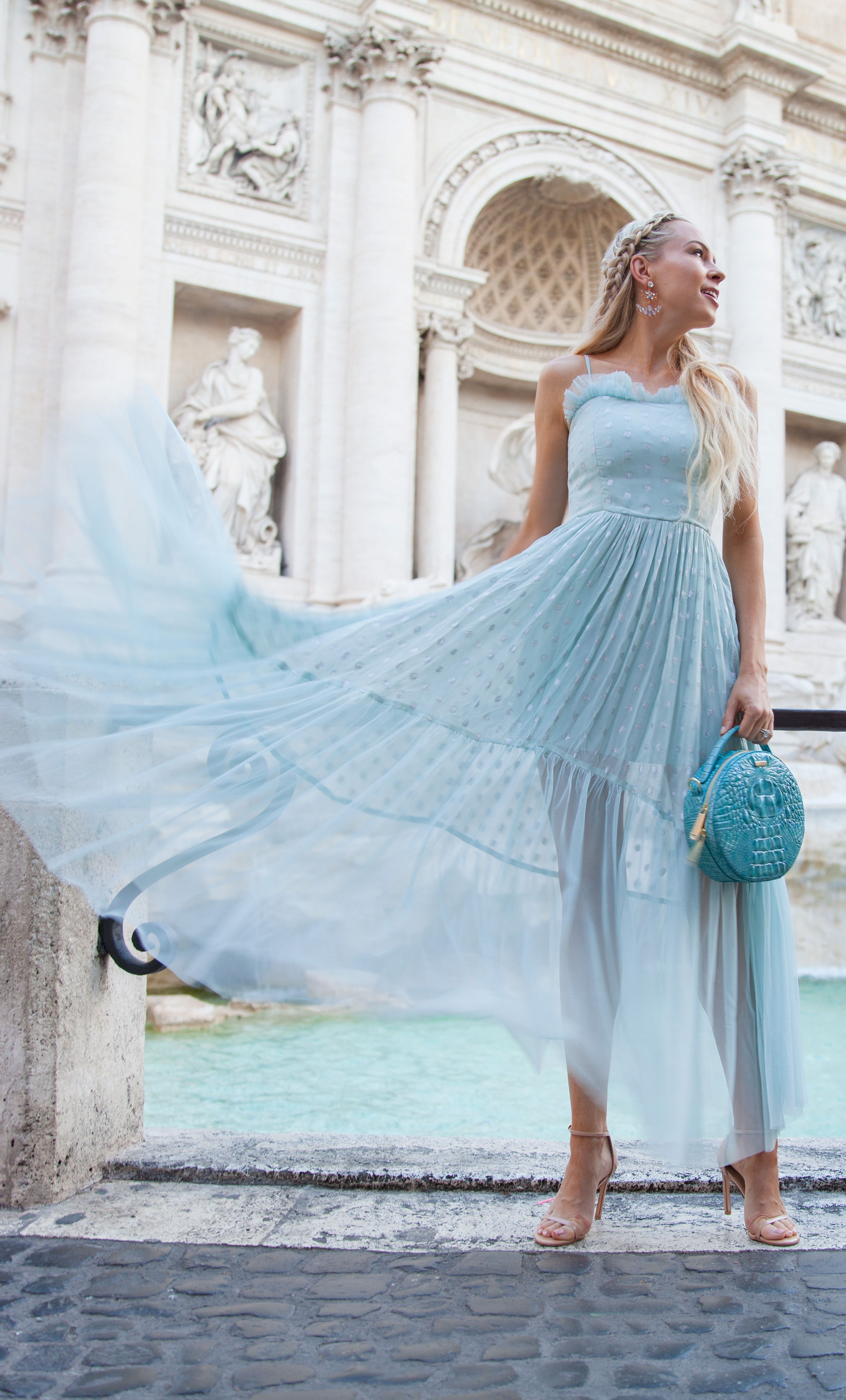 ASOS DESIGN Petite dobby metallic maxi dress at the trevi fountain in rome