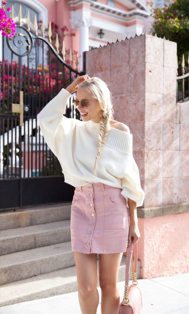 Shine For Me Skirt Dusty Pink azalea sf ivory sweater