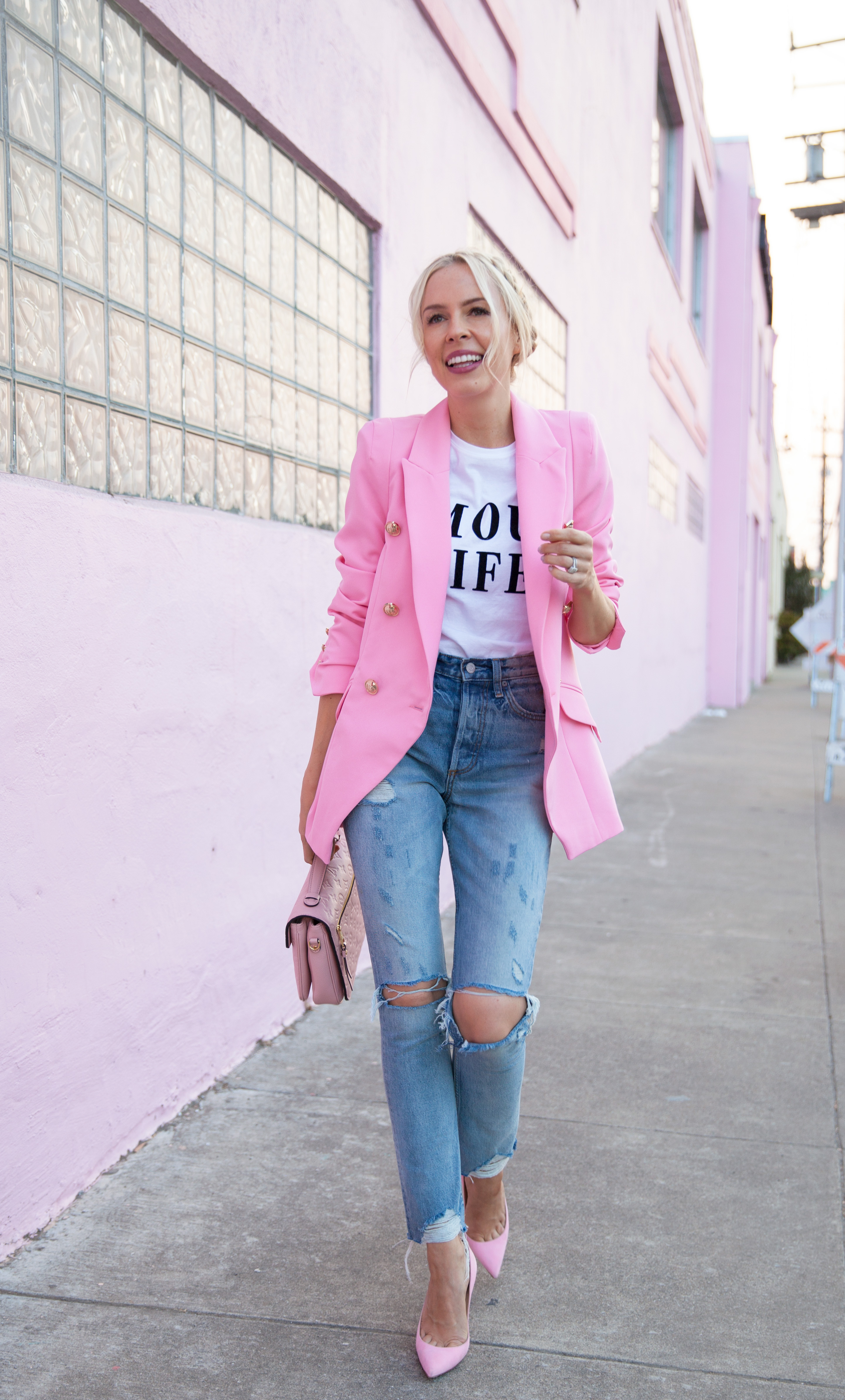 Pink double breasted tux jacket river island Pink fashion favorites featured by top San Francisco fashion blog, Lombard and Fith: image of a blonde woman wearing a RIver Island pink blazer, denim jeans, pink flats and a pink handbag