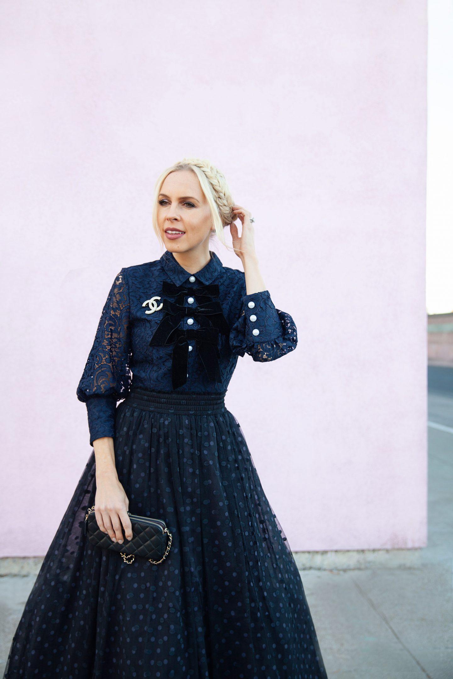 Blair Eadie Atlantic-Pacific x Halogen collection navy dress