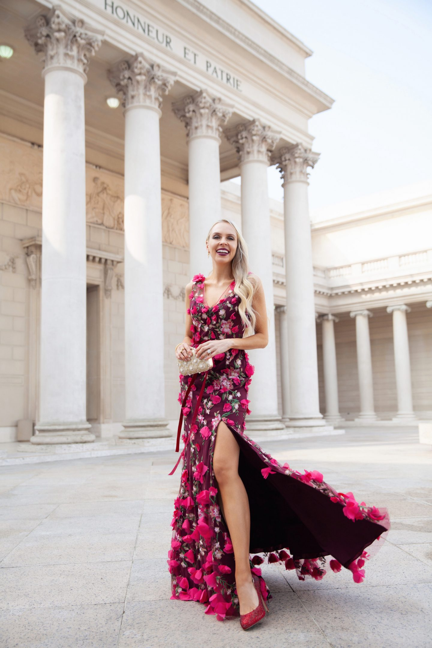 BHLDN holiday dress Vanda Dress Wine by Marchesa Notte styled by top San Francisco fashion blogger Lombard and Fifth as part of best holiday dress series