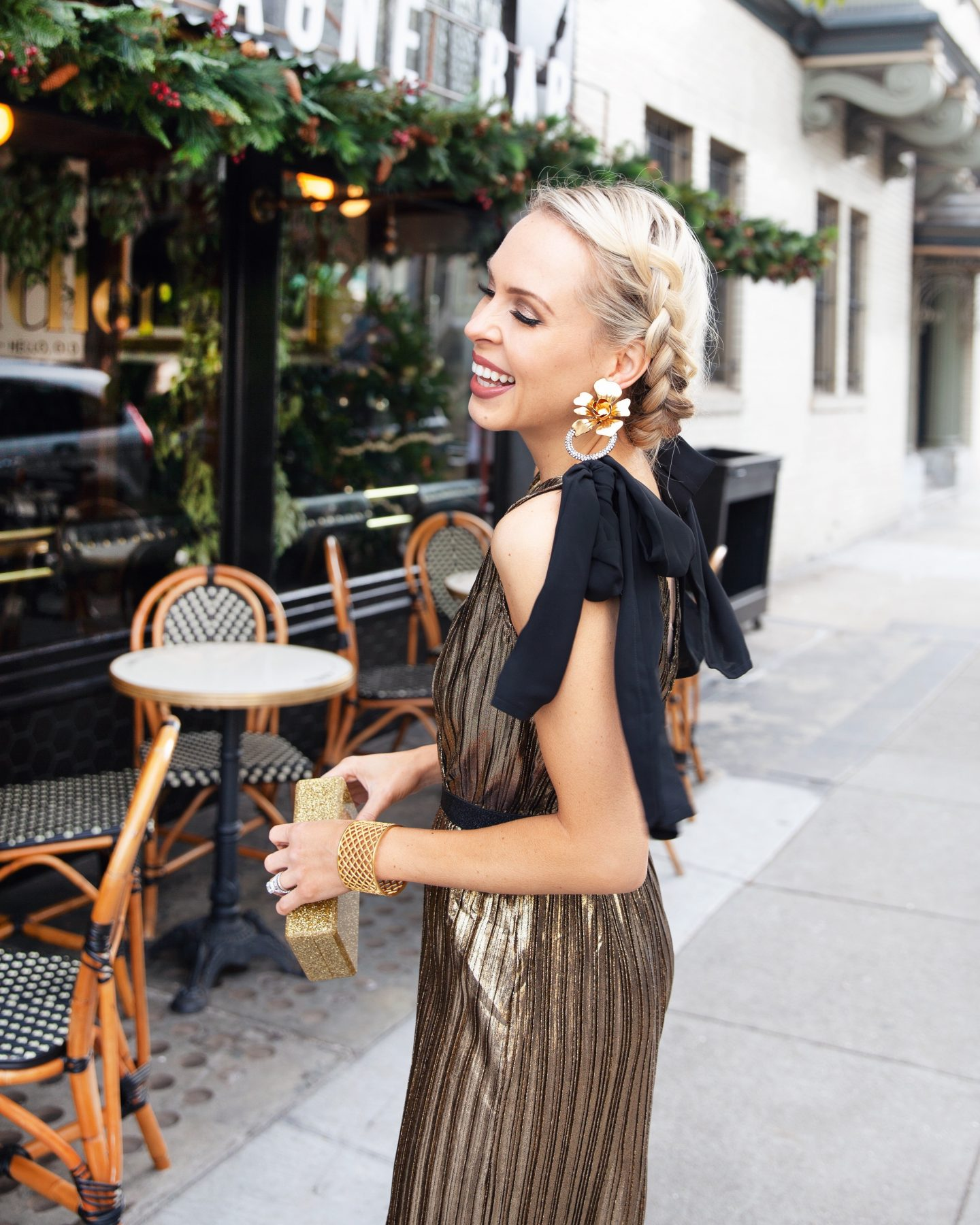 New Years Eve outfit: Modcloth gold jumpsuit featured by top San Francisco fashion blogger Lombard and Fifth